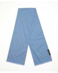 Gucci Blue Cotton Emblem Printed Cotton Scarf - Lyst