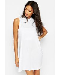 Asos T-Shirt Dress With Drop Arm Hole white - Lyst