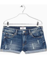Mango Medium Denim Shorts - Lyst