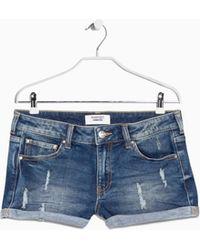 Mango Medium Denim Shorts - Lyst