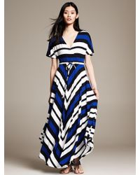 Banana Republic Striped Handkerchief Hem Patio Dress Royal Blue - Lyst