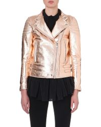 Givenchy Metallic Leather Biker Jacket Rose Gold - Lyst