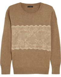 J.Crew Needle-punched Lace Fine-knit Sweater - Lyst
