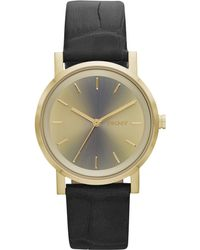 DKNY Womens Soho Gray Crocembossed Leather Strap Watch 34mm - Lyst