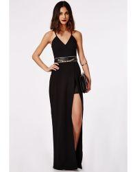 Missguided Malva Wrap Maxi Dress Black - Lyst