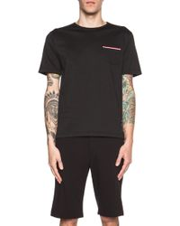 Thom Browne Men'S Ribbon Pocket Cotton Tee - Lyst