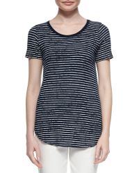 ATM Distressed Striped Cotton Tee - Lyst