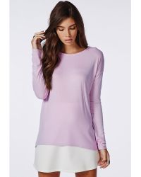 Missguided Long Sleeve Ribbed Jersey Top Lilac - Lyst
