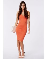 Missguided Matilde Scuba Bandeau Midi Dress Tangerine - Lyst