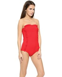 Chloë Sevigny x Opening Ceremony Chandler Ruffle One Piece Swimsuit - Cherry Red - Lyst