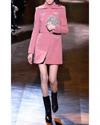 Carven Salmon Double Crepe Embroidered Coat - Lyst