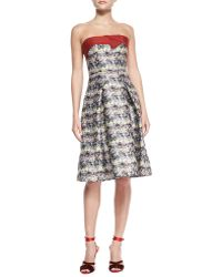 Carolina Herrera Womens Strapless Marbleprint Flare Dress Blackgraymulti - Lyst