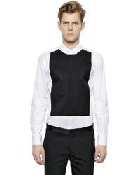 Neil Barrett Two Tone Stretch Cotton Poplin Shirt - Lyst
