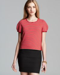 French Connection Top - Fast Suki Stripe Crop - Lyst