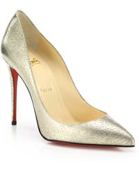 Christian Louboutin | Pigalle Follies Metallic Leather Pumps | Lyst