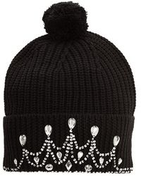 Markus Lupfer Knitted Tiara Beanie black - Lyst