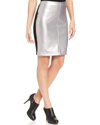 Karen Kane Faux-leather Colorblocked Pencil Skirt - Lyst