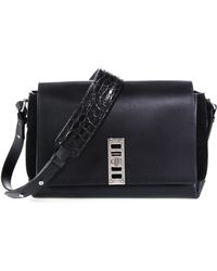 Proenza Schouler Elliot Leather & Suede Shoulder Bag With Crocodile-Embossed Strap - Lyst