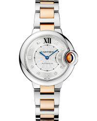 Cartier Ballon Bleu De 18Ct Pink-Gold, Steel And Diamond Watch - For Women silver - Lyst