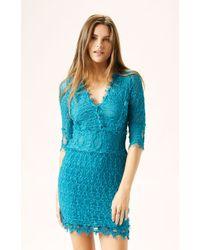 Nightcap Florence Lace 3/4 Sleeve Vneck Dress - Lyst