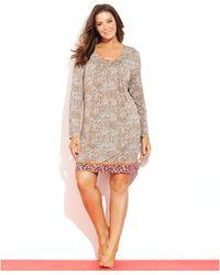 Ellen Tracy Plus Size Long Sleeve Sleepshirt - Lyst