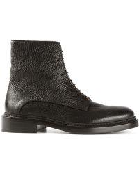 Jil Sander Grained Lace-Up Boots - Lyst