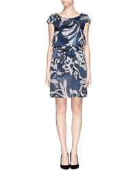 Armani Floral Print Sateen Dress - Lyst