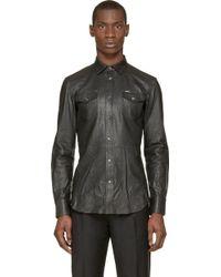 Diesel Black Washed Leather L_Sulphur Shirt - Lyst