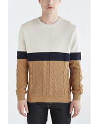 Vanishing Elephant Mixed Stitch Colorblocked Sweater beige - Lyst