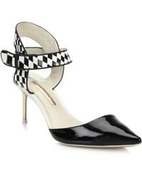 Sophia Webster Olivia Checker-Print Leather & Patent Leather Pumps black - Lyst