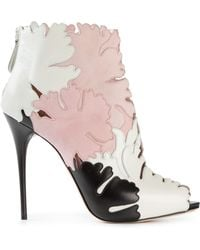 Alexander McQueen Lotus Flower Applique Booties - Lyst