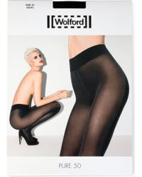 Wolford Pure 50 Black Tights - Lyst