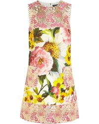 Dolce & Gabbana Floral-Jacquard Mini Dress - Lyst