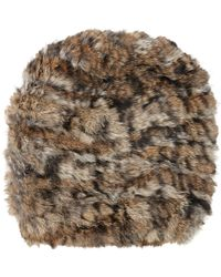 Barneys New York Fur Slouchy Beanie brown - Lyst