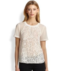 Rebecca Taylor Cap-Sleeve Lace-Clip Voile Top - Lyst