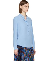 Stella McCartney Oxford Blue Crpe De Chine Button_up Blouse - Lyst