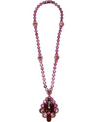 Carole Tanenbaum - S Unsigned Ruby Fuchsia and Pale Pink Rhinestone Pendant Necklace - Lyst