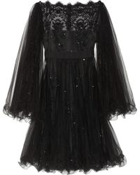 Marchesa Embellished Tulle Dress - Lyst