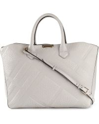 Burberry - Embossed-Check Leather Tote - Lyst
