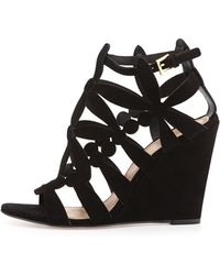 Tory Burch Emerson Cutout Suede Wedge - Lyst