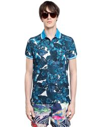 Etro Floral Printed Cotton Piqué Polo - Lyst