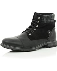 River Island Black Leather Plaid Ankle Military Boots - Lyst