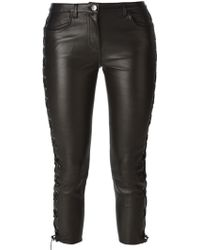 American Retro Lace-Up Cropped Trousers - Lyst