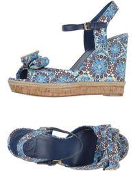Tory Burch Blue Sandals - Lyst