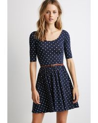 Forever 21 Belted Polka Dot Dress - Lyst