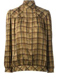 Valentino Vintage Jacquard Funnel Neck Blouse - Lyst