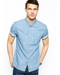Asos Denim Shirt in Short Sleeve with Lightening Print - Lyst