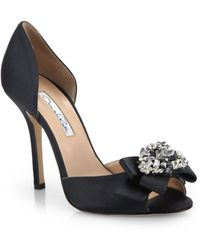 Oscar de la Renta Rosalba Jeweled Satin D'Orsay Pumps - Lyst