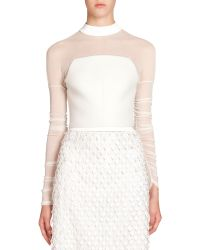Balenciaga Illusion Crepe Crop Top white - Lyst