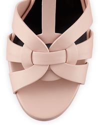 Saint Laurent Tribute Midheel Leather Platform Sandal Pale Blush - Lyst